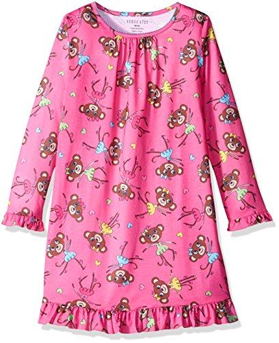 Komar Kids Girls Big Long Sleeve Jersey Nightgown, Monkeys