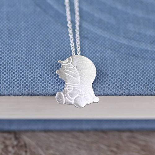 ERH Frauen Western Fashion Mode 925 Silber Cartoon Charakter Überzug Halskette S925 Sterling Silber Halskette Silber Silber Gebürstet Doraemon Halskette Weibliche Nette Roboter Katze, 925 Silber -