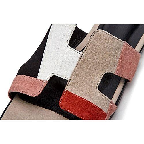 Hausschuhe Advanced Gladiator Nähte Flache Hohl Atmungsaktiv Leather L1522 Sandalen Damen KJJDE Prämie Knöchel Pink WSXY Flache Schuhe CS878x0
