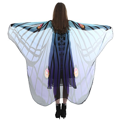 vermers Women Chiffon Shawl Lady Long Butterfly Wing Cape Soft Scarf Scarves Wrap Shawl Nymph Costume(Blue)