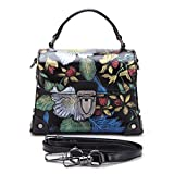 DANJUE Small Shoulder Bags Genuine Leather Satchel Top-handle Bags Purse for Women Evening Handbags with Removable Strap W1552 (Black)