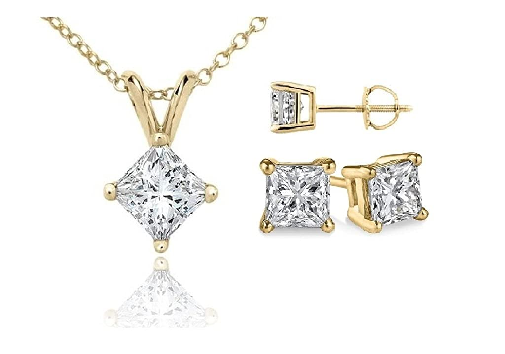 PARIKHS Princess Cut Diamond Pendant /& Stud Set Prime Quality-White /& Yellow Gold