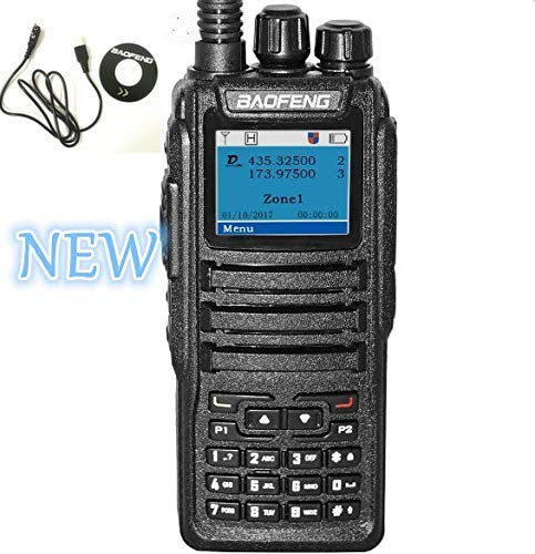 Baofeng DM-1701 Dual Band Tier I & II DMR Analog Radio 136-174MHz & 400-470MHz, Up to 3000 Channels, Color Display with Programming Cable