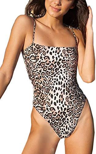CinShein Women's Shoulder Knot Bikini Hign Cut Leopard Print One Piece Swimsuits Backless Thong Bathing Suits DZ921 Leopard S