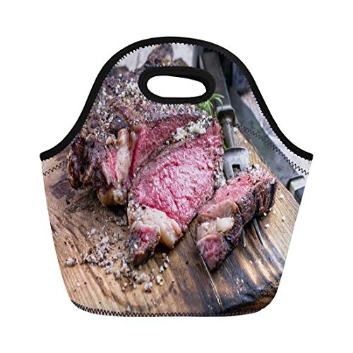 Semtomn Lunch Bags Brown Beef Barbecue Dry Aged Wagyu Tomahawk Steak As Neoprene Lunch Bag Lunchbox Tote Bag Portable Picnic Bag Cooler Bag