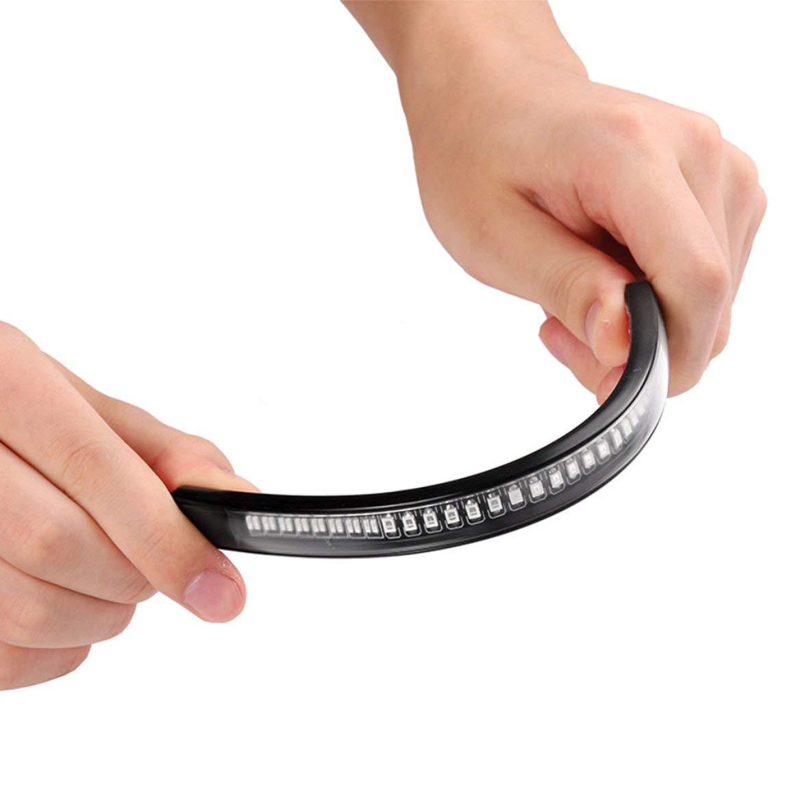 Kongqiabona Flexible Moto LED Bande 48Smd Moto Barre De Lumi/ère LED De Frein Clignotant Signal Clignotant R/ésistant Aux Vibrations
