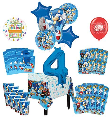 Mayflower Products Sonic The Hedgehog 4th Birthday Party Supplies 8 Guest Decoration Kit and Balloon Bouquet -