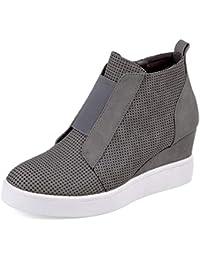 Women's Wedge Sneakers High Top Side Zipper Fashion Wedge Booties Shoes