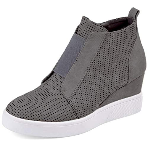 Athlefit Women's Platform Boots Breathable Wedge Booties Ankle Heels Size 35 - Sneaker Boots Ladies