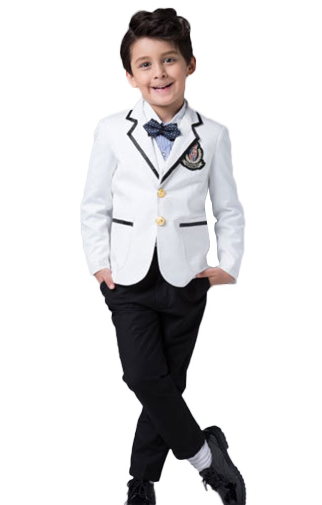 ICEGREY Boys' Boys Formal Dress Suit Set With Vest Suits, Bow Tie White,7-8 Years