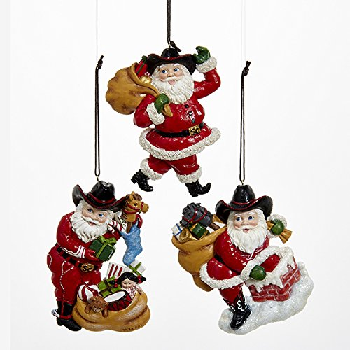 Western Santa Ornament (Kurt Adler 1 Set 3 Assorted 4 Inch Resin Western Santa Christmas Ornaments)
