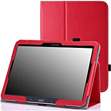 MoKo Samsung Galaxy Tab 3 10.1 and Galaxy Tab 4 10.1 Case - Slim Folding Cover Case for Samsung Galaxy Tab 3 10.1 and Tab 4 10.1 Inch Android Tablet, RED (With Smart Cover Auto Wake / Sleep)