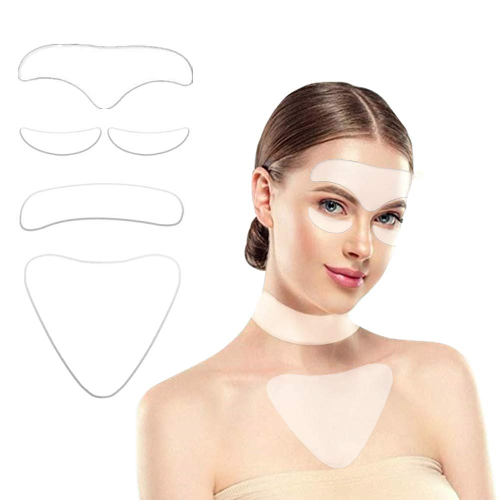 5Pack Silicon Wrinkle Pads - including 2 Piece Eye Wrinkle Flattening Patches,1 Piece Silicone Anti Wrinkle Chest Pads,1 Piece Forehead Pads and 1 Piece Neck Pads for Eliminate and Prevent Wrinkles by Guleten