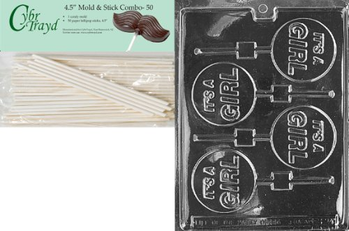Cybrtrayd 45St50-B024 It's a Girl Lolly Baby Chocolate Candy Mold with 50-Pack 4.5-Inch Lollipop Sticks Girl Chocolate Mold