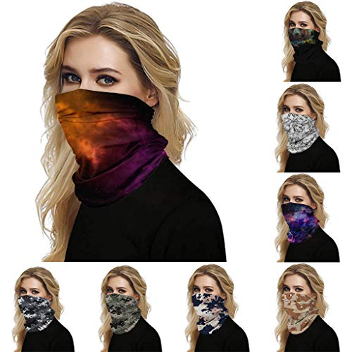 Louyue Seamless Fa-ce Cover Bandanas Neck Gaiter Mouth Shield Scarf - Dust & UV Sun-Protection for Festivals and Outdoors