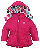 Pink Platinum Toddler Girls' Puffer Jacket with Big Dots Print Lining, Berry, 3T