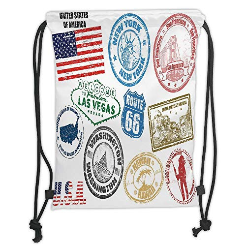 New Fashion Gym Drawstring Backpacks Bags,United States,Grunge Stamps of America Las Vegas New York San Francisco Hawaii Illustration,Multicolor Soft Satin,Adjustable String Closu -