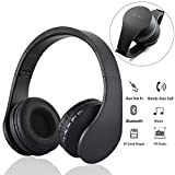 Teastar Rechargeable Wireless Bluetooth Headphones Foldable Headset Overear Headband Music BluetoothEarphones Support FM Radio TF Card Playback for Smartphone Cell Phone PC Computer Tablet (Black)