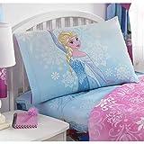 4 Piece Kids Girls Teal Blue Frozen Full Sized Sheet Set, Pretty Snowflake Elsa Bedding Princess Disney Enchanted Snowing Pattern Magical Cute Frost, Polyester