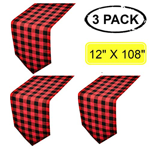 3 Pack Buffalo Check Table Runners Red and Black Plaid Table Runner for Christmas Dinner, Lumberjack Party, Outdoor or Indoor Gatherings Table Home Decorations 12