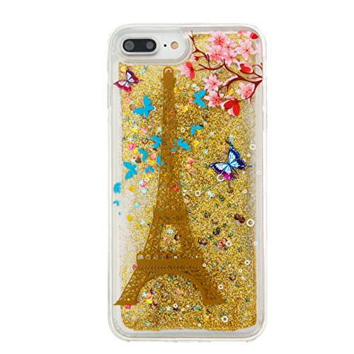 iPhone 7 Plus Case, MerKuyom [Floating Liquid] Hard TPU Transparent Flowing 3D Bling Sparkling Glitter Case Cover For Apple iPhone 7 Plus (5.5-inch) (Gold Tower Flowers)