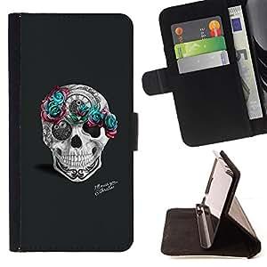 Jordan Colourful Shop - teal rose grey skull pink tattoo art For Apple Iphone 5 / 5S - < Leather Case Absorci????n cubierta de la caja de alto impacto > -