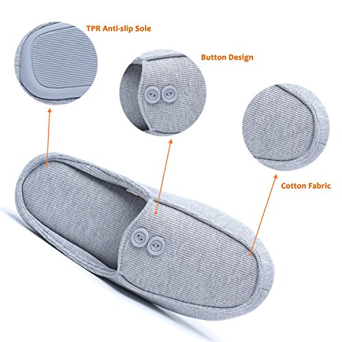 Buttons Women's Cotton Ofoot Closed Anti Grey Memory with Foam Slippers Design Indoor Toe slip Cozy amp; Men's 66rxwqES
