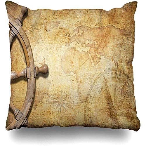Throw Pillow Cover Decor Cases Square 18 x 18 Inch Arrow Navigation Aged Treasure Map Steering Wheel Pirate Vintage Adventure Antique Compass Cross Zippered Cushion Case Home