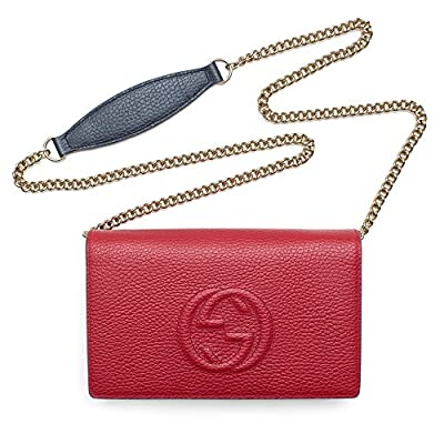 Gucci Hibiscus Red Navy White Handbag Soho leather mini chain bag New