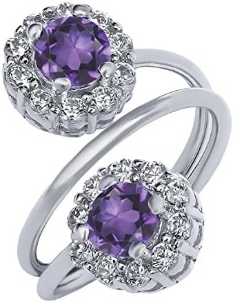 Sterling Silver Natural Purple Amethyst Gemstone Birthstone Women's Ring (1.50 cttw, Available in size 5, 6, 7, 8, 9)