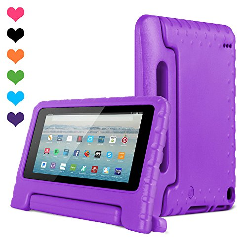 Amazon Kids Kindle Fire 7 Case 2015 Release for Boys&Girls,CAM-ULATA Tablet 7 inch Cover Shock Proof Protective with Handle Stand Holder Light Weight (Previous Generation - 5th) Purple