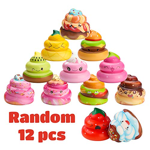 WATINC Random 12 Pcs Kawaii Soft Poo Squishy Cream Scented Stress Relif Toy, Decorative Props Gift Hand Toy for Kids by WATINC (Image #1)