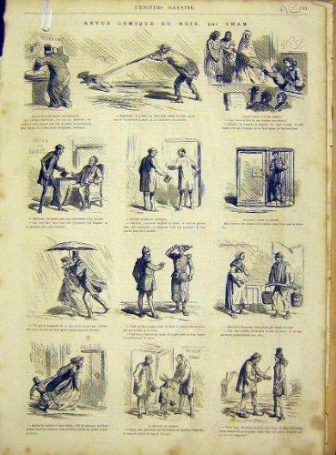Comic Sketches Paris France Cham French Print 1866