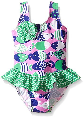 Flap Happy Baby UPF 50+ Serena Contrast Swimsuit with Ruf...