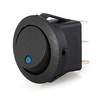 4 Packungen runde Boote 12 V f/ür Automobile 3-poliger Ein-//Aus-Schalter blaues Licht Blinker LED-Wippe 3-poliger 16 mm Auto-Indikator-Netzschalter