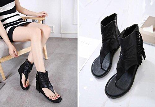 YEEY Ronda de las mujeres peep clip Toe elástico t-strap sandalias romanas Black