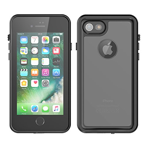 (iPhone 7/iPhone 8 Waterproof Case, Forhouse IP68 Certified Full Body Protection Crystal Clear Built-in Screen Protector Shockproof Protective Case for iPhone 7/iPhone 8 (Black))