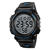 Men's Sports Watch Military Classic Stopwatch Large Dial Electronic LED Backlight Wristwatch 50M Waterproof Digital Watch (Blue)