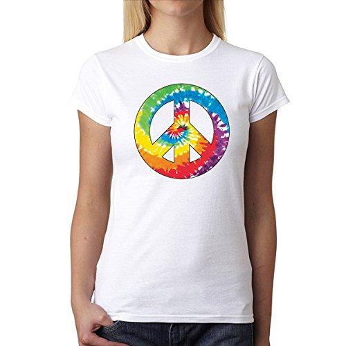 Paz y Amor Señal Mujer Camiseta XS-2XL Nuevo Blanco