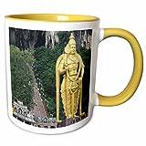 3dRose Albom Design Travel - Lord Murugan Statue at Entrance to Batu Caves, Kuala Lumpur, Malaysia - 11oz Two-Tone Yellow Mug (mug_164774_8)