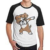 Sakanpo Men's Thoughtful Dog Raglan Short Sleeve Baseball T-Shirt S