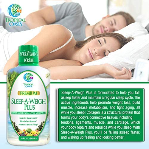 Sleep-A-Weigh Plus | Liquid Sleep Multimineral | Natural Sleep, Stress & Weight Loss Aid | w/Collagen, L-Carnitine, L-Lysine, Tonalin CLA, Apple Cider Vinegar, 5-HTP, Vitamins | Non-GMO | 32 Serv 7
