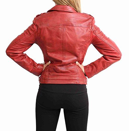 Rosso di Casuale Giacca Cuoio a Jade Croce Stile Delle Genuino Donna Attrezzato Zip Biker 1w1COBx