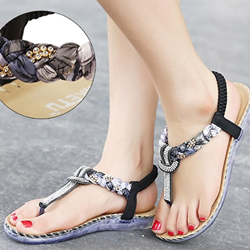 Clip Flats Toe Sandals Women's Hattie Ankle Strap Black Bohemian Summer nqvnpw4C