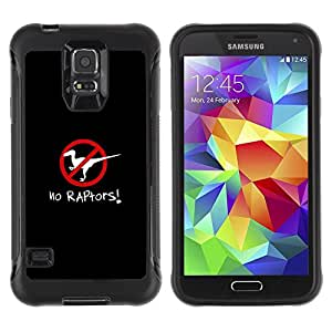 Suave TPU Caso Carcasa de Caucho Funda para Samsung Galaxy S5 SM-G900 / Raptors Clever Poster Dinosaur Black / STRONG