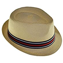 K Men's Braided Toyo Straw Fedora with Black Gray Red Band Natural
