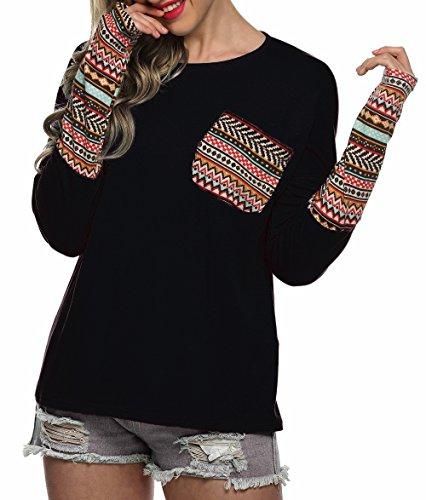 POGTMM Women's Long Sleeve Black Oversized Shirts Top (L, Black) (Clothing)