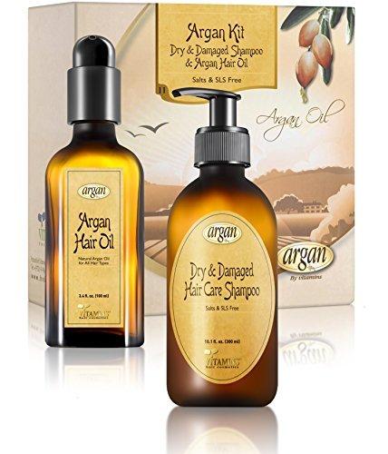 Dry Damaged Shampoo & Argan Oil kit - Moroccan Salt Free Hair Clarifying Shampoo 10.1 oz and Argan Oil Hair Shine Gloss 3.4 oz Set