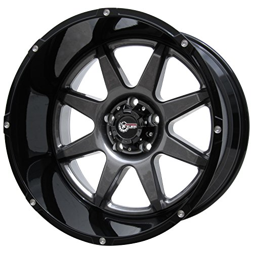 "Rugged TUFF RT800 20"" Wheel Rim 20x12"" 5x150-44 Offset for Toyota Lexus Lifted Trucks SUVs Anthracite Gunmetal Black"