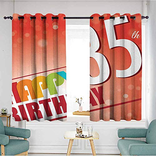 - duommhome 35th Birthday Printed Curtain Retro Style Party Invitation with Colorful Lettering on Bokeh Effect Backdrop 70%-80% Light Shading, 2 Panels,55